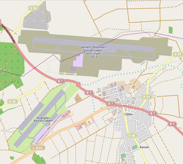 Lage des alten und des neuen Flughafens Kassel-Calden